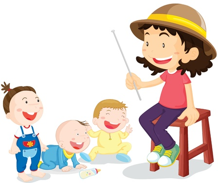 stools: illustration of kids with teacher