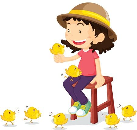 escabeau: illustration de la jeune fille avec des poulets Illustration