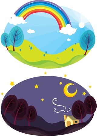 sonne mond und sterne: Darstellung der Regenbogen und dunklen Nachthimmel