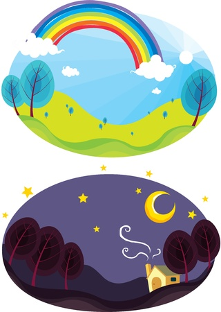 illustration of rainbow and dark night sky Vector