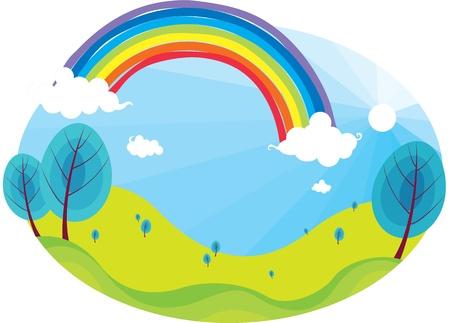 illustration of rainbow on bright blue sky Vector