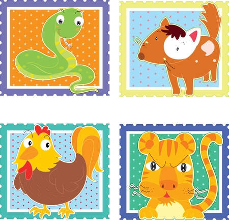 illustration of animal stamps on white Vector