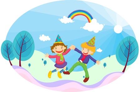Illustration of dancing kids on blue background Vector