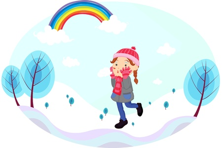 famale: Illustration of a girl walking on snow