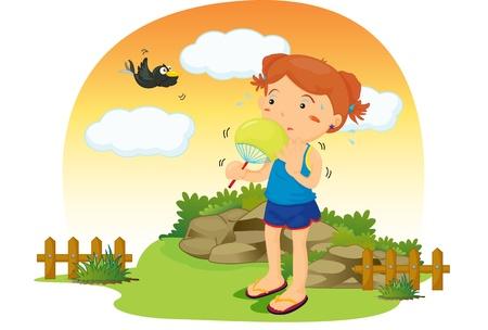 lady bird: illustration of girl on colourful background Illustration