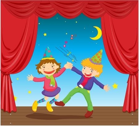 sings: illustration of kids dancing on stage