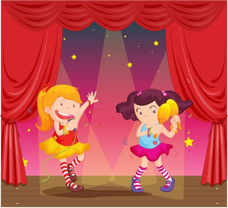 Illustration of girls singing and dancing on stage Vector