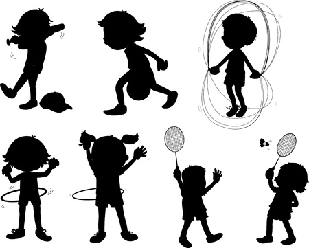 illustration of images of shadows of kids Vector