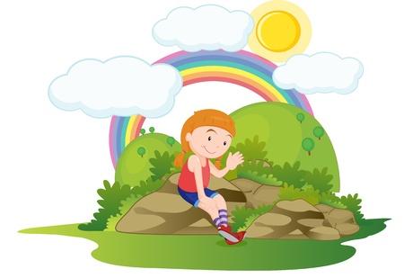 illustration of girl on rocks Vector