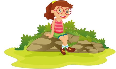 illustration of girl sitting on rocks Vector