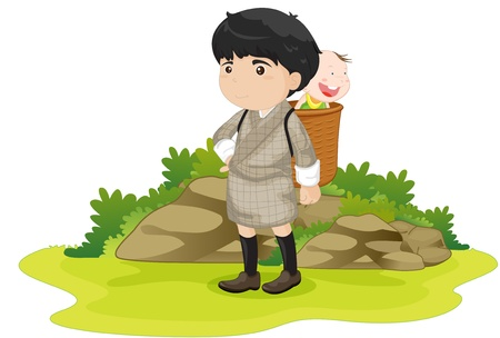 illustration of boy wearing basket Stock Vector - 13215997