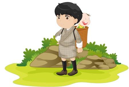 bhutan: illustration of boy wearing basket