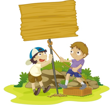two children: illustration of kids with notice board