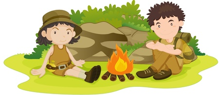 color guide: illustration of boy and girl wearing scout uniform Illustration
