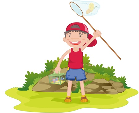 illustration of boy catching butterflies Vector