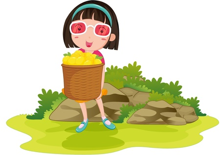 hand holding plant: illustration of girl holding fruit basket Illustration