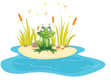 illustration of frog sitting near pond