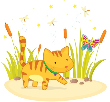 illustration of cat and butterfly  Vector