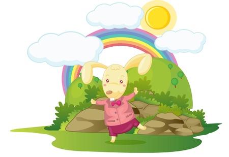 illustration of rabbit standing on rainbow background Vector