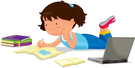 notebook computer: illustration of girl studying