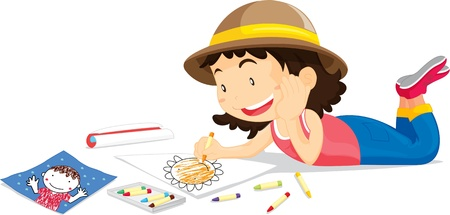Girl in hat colouring picture of flower Vector