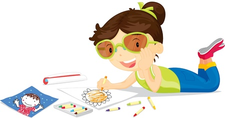 girl lying down: Girl lying down drawing picture with crayons Illustration