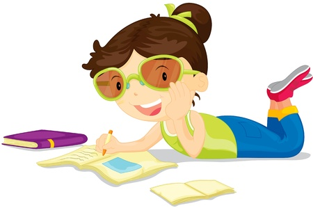 pen writing: illustration of girl studying