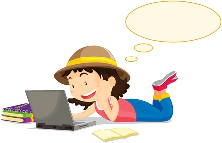 Hat girl at computer with books Vector