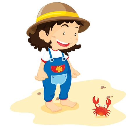 Girl in overalls with red crab on beach Vector