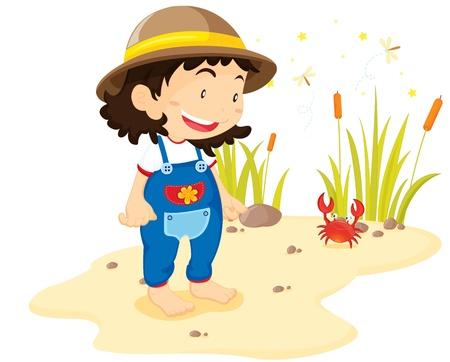 amphibian: illustration of girl standing near crab