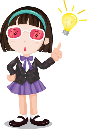 School girl with lit lightubulb Vector