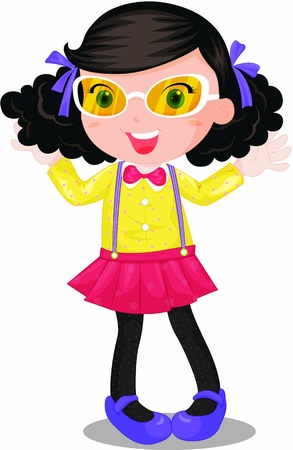 cute girl cartoon: Well dressed girl with glasses and bow-tie