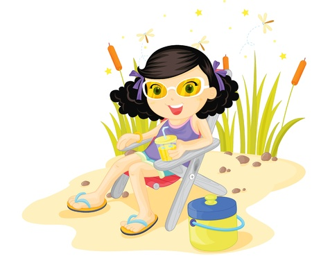 catnip: Girl relaxing on the beach at the waters edge Illustration