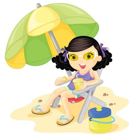 Niña sentada bajo una sombrilla en la playa