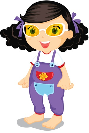 baby picture: Girl wearing yellow glasses and purple over-alls
