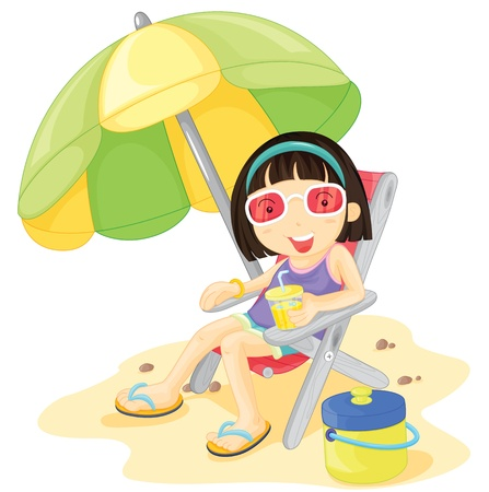Girl in pink glasses sitting under a parasol Vector
