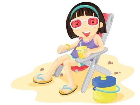 Girl drinking lemonade at the beach Vector