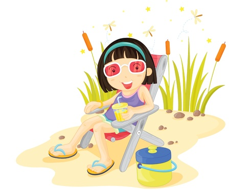Girl with red glasses sitting on the shore Vector
