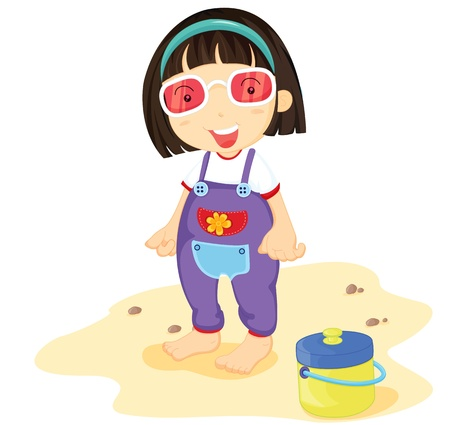 Illustration of girl with tiffin on white Vector