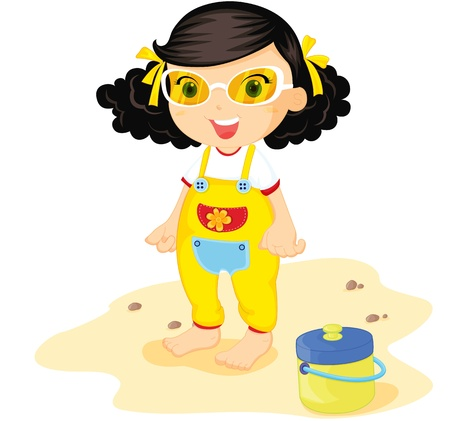 hair bow: Toddler in yellow overalls standing on the beach Illustration