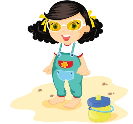 beach side: Toddler in green overalls on beach Illustration