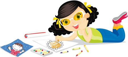 child hair: Girl in yellow glasses colouring a flower