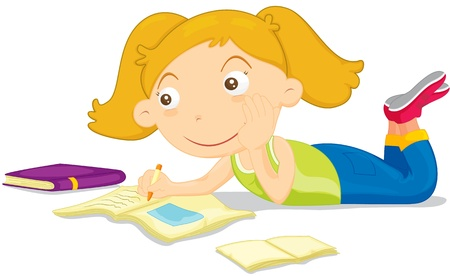 Girl daydreaming while doing homework Vector