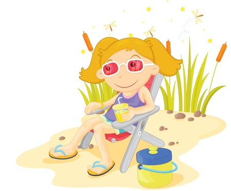 beach side: Girl relaxing with lemonade at a pond Illustration