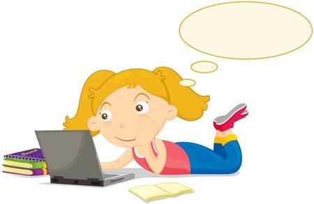 생각에 잠겨있는: 컴퓨터에서 생각하는 공정한 머리 소녀