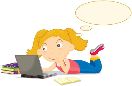 surfing the web: Fair haired girl thinking at computer Illustration
