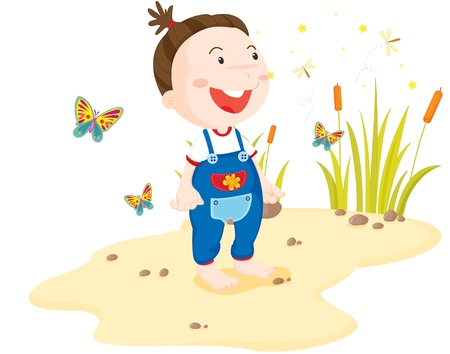 Toddler surounded by insects on the beach Vector