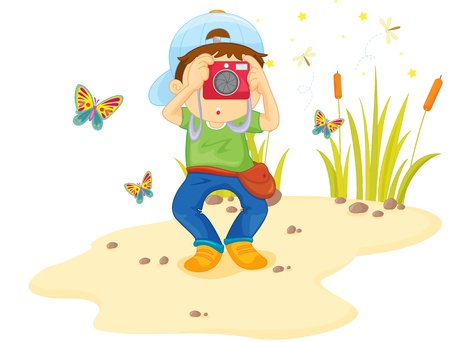 Boy on sand taking a photo Vector