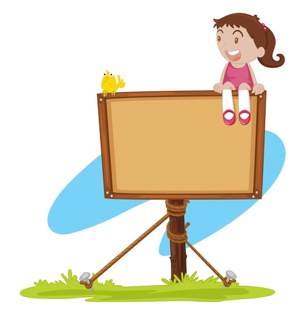 illustration of a girl sitting on a notice board illustration