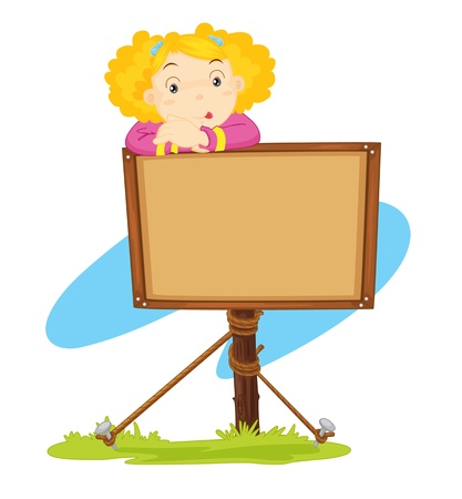 illustration of a girl standing near a notice board illustration